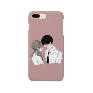 カップルスマホケース くすみレッド Smartphone cases