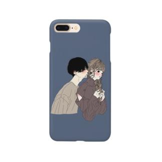 カップルスマホケース ネイビー Smartphone cases