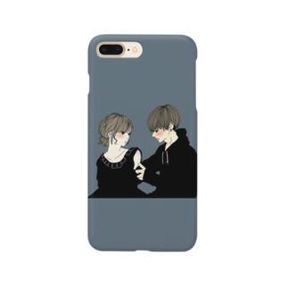 カップルスマホケース くすみグリーン Smartphone cases