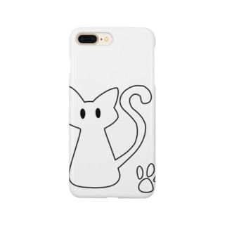 安定感企画 イラスト編No.3 黒枠白猫 Smartphone cases