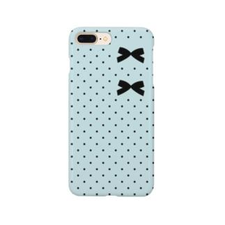 【コロ。COLOM.】りぼんロゴ!水玉ドット水玉リボンデザイン。人気りぼんグッズ! Smartphone cases