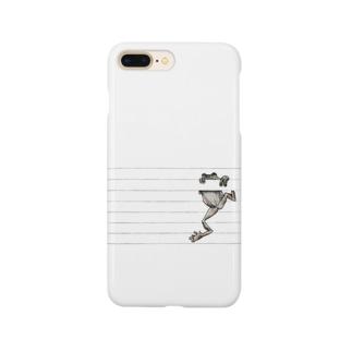 罫線で遊ぶカエル Smartphone cases