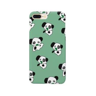 ゆうれいパンダ総柄みどり Smartphone cases