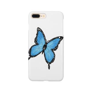 青色バタフライ Smartphone cases