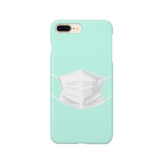 マスクするスマホ ライトブルー Smartphone cases