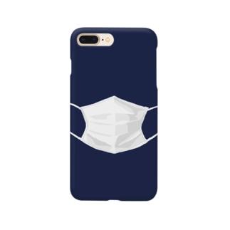 マスクするスマホ ネイビー Smartphone cases