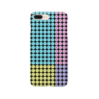 LalaHangeulのハングルスマホケース ドット~黒地パステル~ Smartphone cases