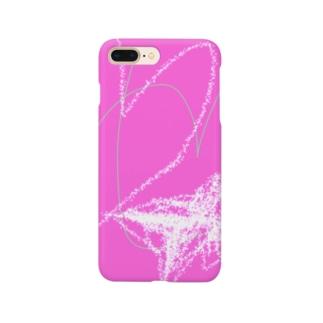 岡田きのこデザイン ピンクのハート Smartphone cases