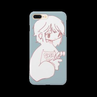 天ぷら100円(税抜き)の水色女の子は指が気になる Smartphone cases
