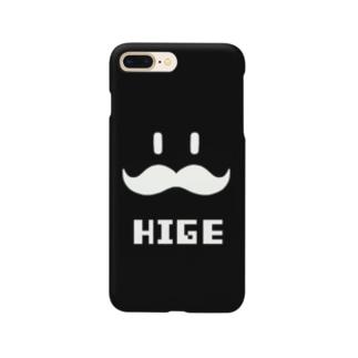 ヒゲHIGE(黒地白柄) Smartphone cases