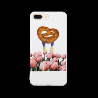 人生やり直しのチューリップ畑を歩くプレッチェルくん Smartphone cases