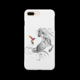 Drecome_Designの馬とハチドリ Smartphone cases