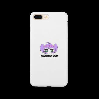 すいすい動物のFACE MAN GODちゃん(Purple) Smartphone cases
