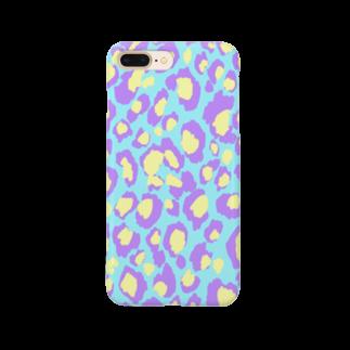 chaako_graphicのiPhoneケース(ヒョウ柄/blue) Smartphone cases