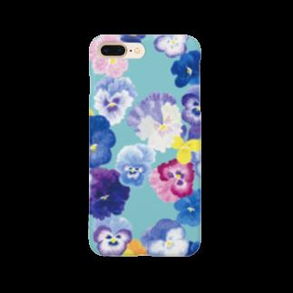 harukazeiroのパンジー×ターコイズ Smartphone cases