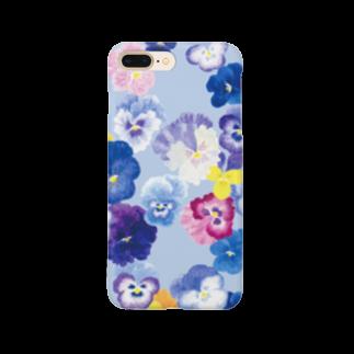 harukazeiroのパンジー×ペールブルー Smartphone cases