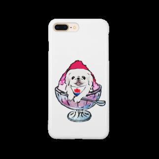犬グッズの店しえるぶるーのかき氷ワンちゃん 氷イチゴ ペキニーズ ホワイト Smartphone cases