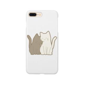 仲良し猫 黒&白 Smartphone cases