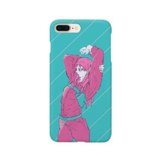 デバドのピンク&ブルー Smartphone cases
