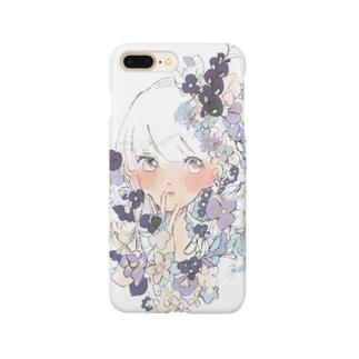 お花の髪飾り 白 Smartphone cases