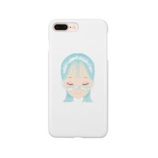 雲メイク sky blue Smartphone cases