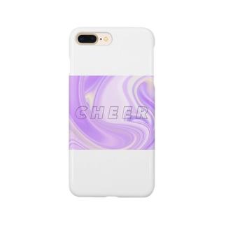 パープル マーブル チア Smartphone cases