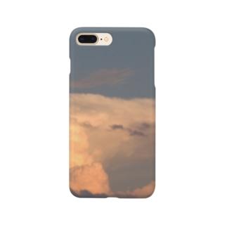 夏の夕日に照らされた積乱雲(雷雲) Smartphone cases