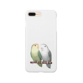 コザクラインコ モーブとオリーブ【まめるりはことり】 Smartphone cases