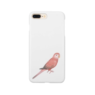 アキクサインコ ピンク【まめるりはことり】 Smartphone cases