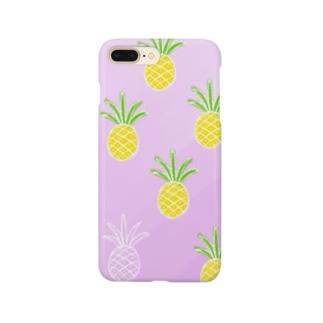 hiroのパイナップルonピンク Smartphone cases