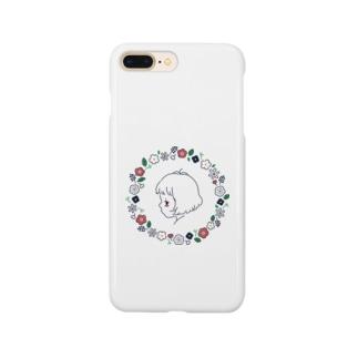 ton-to-tonのお花のリース(ぶるー) Smartphone cases