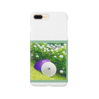 番傘と紫陽花 Smartphone cases