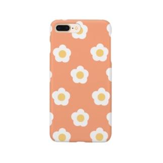 White Flower(サーモンオレンジ) Smartphone cases