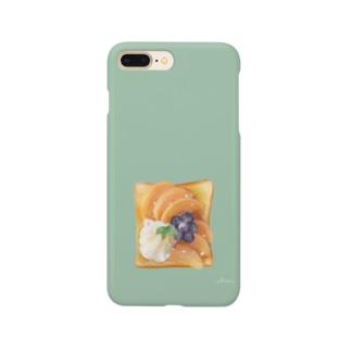 フルーツトースト(背景色あり) Smartphone cases