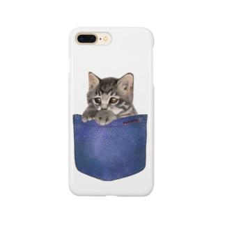 デニムポケットからひょっこり子猫ちゃん Smartphone cases