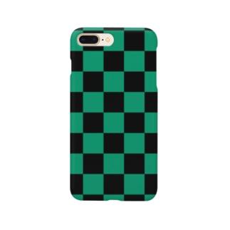 市松模様 (黒/緑) Smartphone cases
