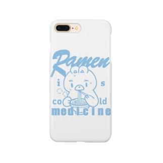 ラーメンは風邪薬_ブルー Smartphone cases