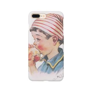 リンゴを食べる少女 Smartphone cases