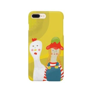 牧場の少女とニワトリ Smartphone cases