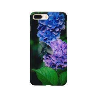 紫陽花とクロアゲハ Smartphone cases