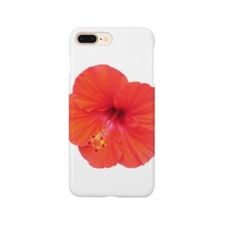 ハイビスカス・レッド① Smartphone cases