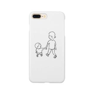 母と息子 ほっこりfamily いっしょにお散歩 Smartphone cases