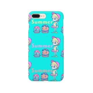 ぷいん/ニューレトロのタコタコ女のコ Smartphone cases