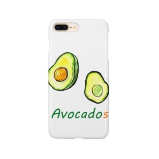 水彩イラストグッズの水彩おしゃれなアボカド Smartphone cases