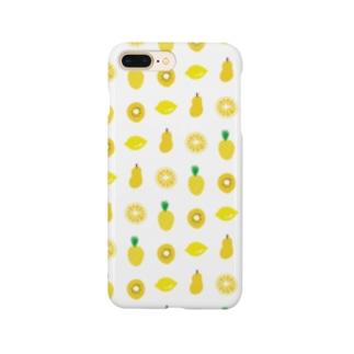 黄色いフルーツのパターン Smartphone cases