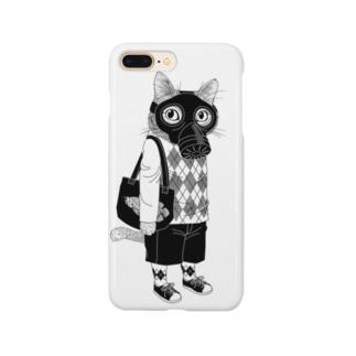 ガスマスクを付けた猫 Smartphone cases