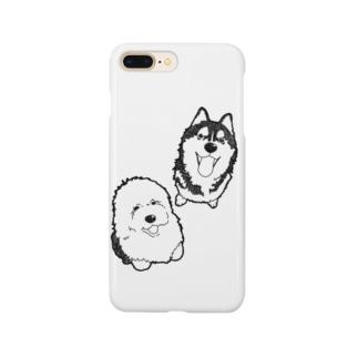 オールドイングリッシュシープドッグとハスキー Smartphone cases