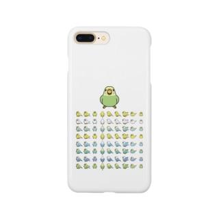 整列セキセイインコ隊【まめるりはことり】 Smartphone cases