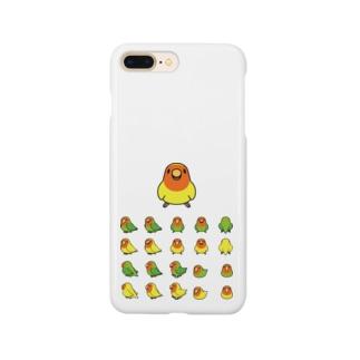 整列コザクラインコ隊【まめるりはことり】 Smartphone cases