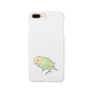 首傾げ スパングルセキセイインコちゃん【まめるりはことり】 Smartphone cases